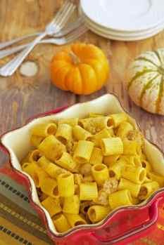 Rigatoni with Sweet Italian Turkey Sausage and Pumpkin Cream Sauce