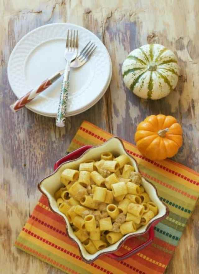 Rigatoni Pasta with Sweet Italian Sausage and Pumpkin Cream Sauce|Craving Something Healthy