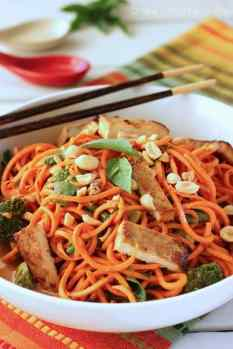 Sesame Peanut Sweet Potato Noodles with Tofu|Craving Something Healthy