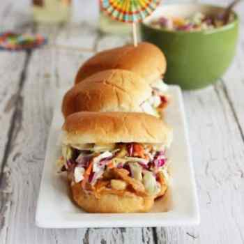 Pulled Turkey Sliders with Chipotle Peach BBQ Sauce and Creamy Slaw