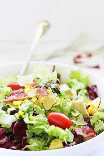 Bacon Lettuce Tomato Salad with Grilled Corn and Avocado|Craving Something Healthy