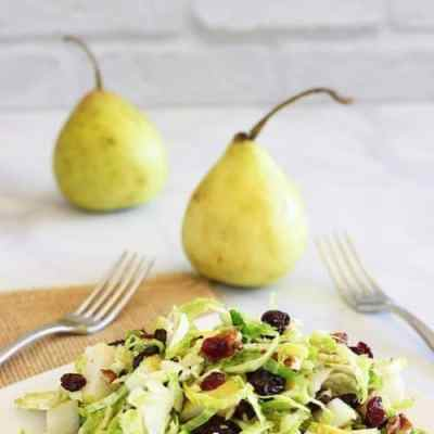 Brussels Sprouts Slaw with Cranberries and Walnuts