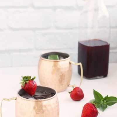 Strawberry Basil Shrub Syrup for Cocktails or Mocktails