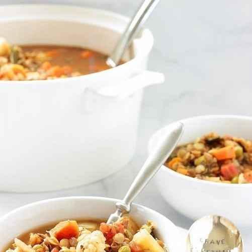 Heart Healthy Mediterranean Vegetable Lentil Soup |Craving Something Healthy