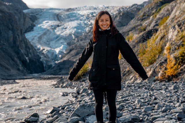 Kat posing in front of Exit Glacier in Seward, Alaska