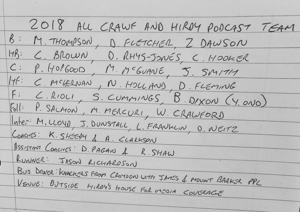 2018 All Crawf and Hirdy team