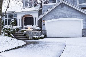 Big suburban home in wintertime