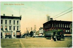 Trolley car on Washington Square in Bucyrus, Ohio circa 1912