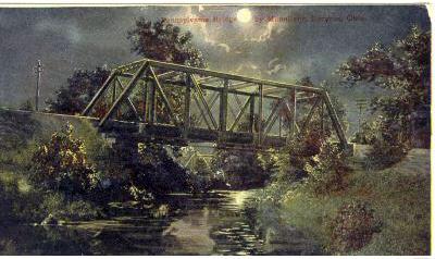 Twilight view of Pennsylvania Railroad bridge in 1911