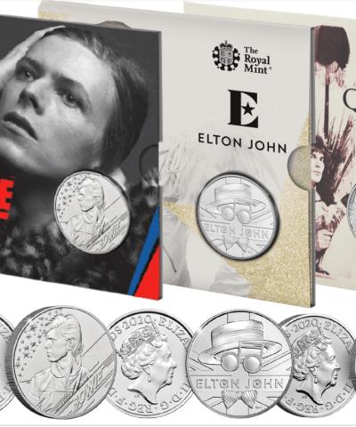 2020 Music Legends Queen, Elton, Bowie £5 BU Set