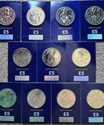 2017-2021 Queen's Beasts – Full Set £5 BU – CC