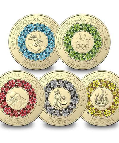 2020 Australian $2 Tokyo Coloured Uncirculated Olympics Coin Collection