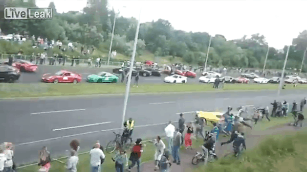 Crazy Video! Koenigsegg Lamborghini runs into crowd at Grand Turismo in Poland