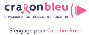 Crayon bleu sensibilisé par Octobre Rose