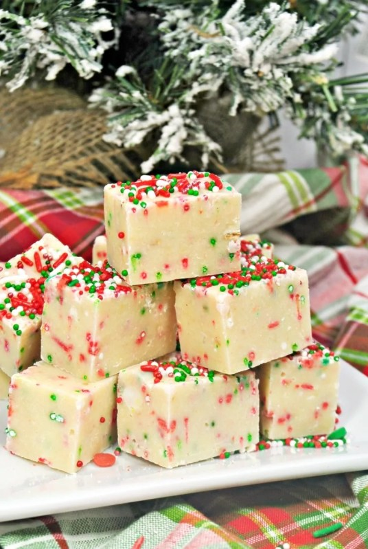 Sugar Cookie Christmas fudge on white serving platter