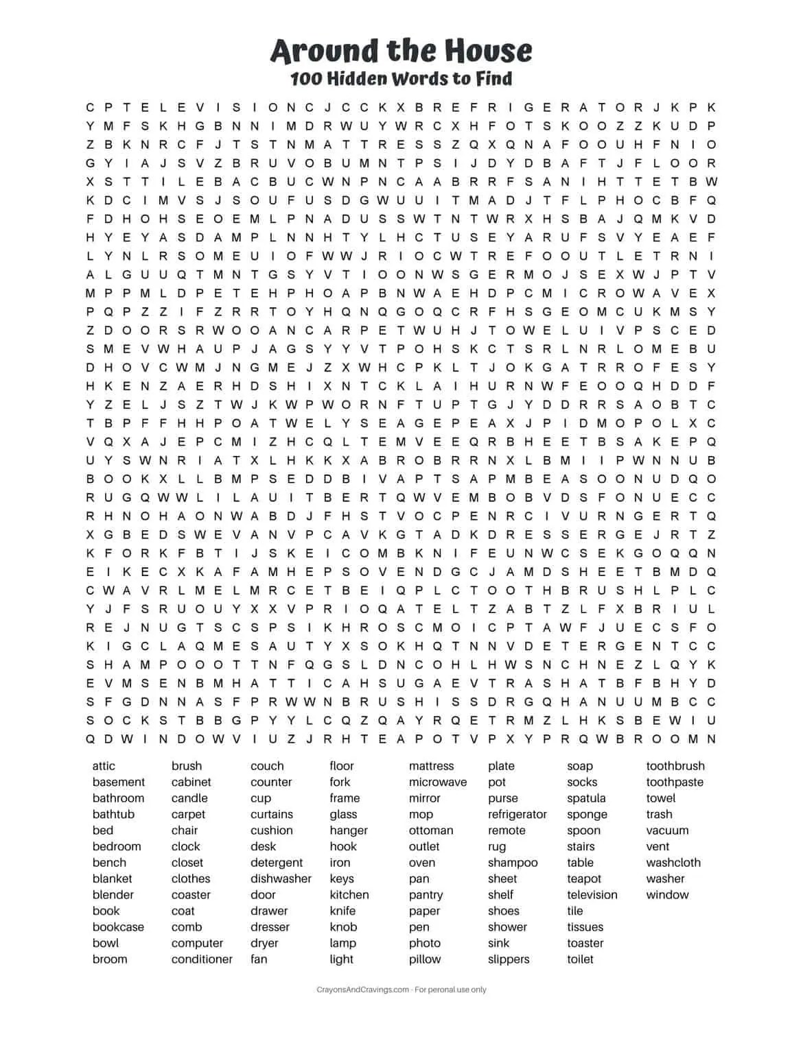 100 Word Word Search
