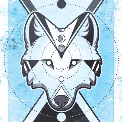 Lunar Phase Wolf Print
