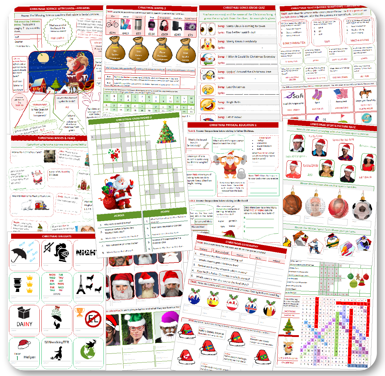 Printable Christmas Holiday Worksheets Buy Now 4 99 At
