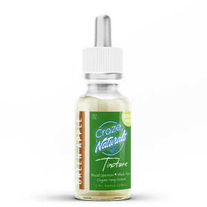 A 30ml bottle of Green Apple CBD Tincture by Craze Naturals