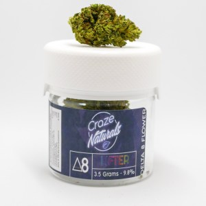 A jar of Lifter Delta 8 Flower by Craze Naturals