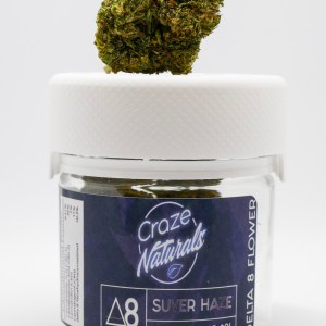 A container of Suver Haze Delta 8 Flower by Craze Naturals