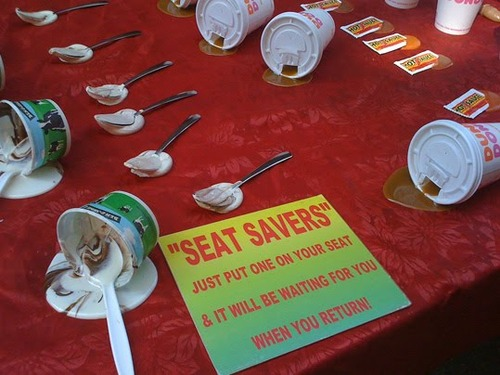 seat savers spills Save a Seat with a Fake Drink Spill