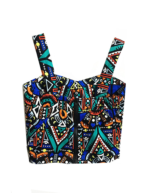 %craziya multicolor geometrical design crop top