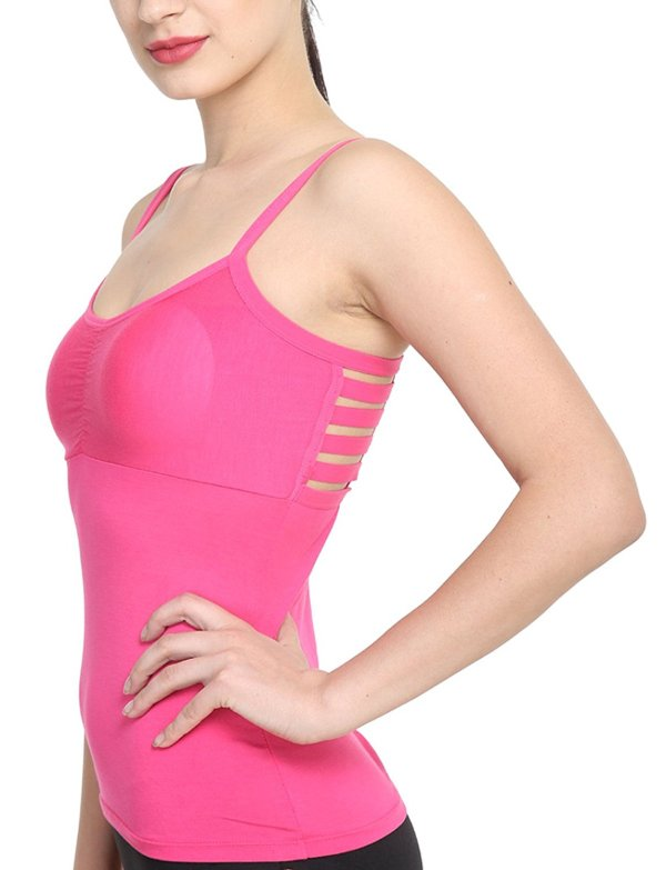 %back string cage pink top