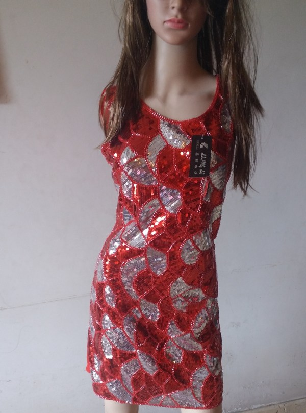 %Red silver sequin dress
