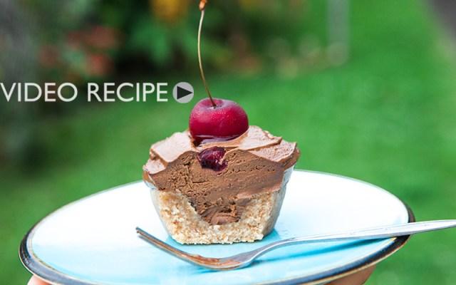 Raw Vegan Chocolate Avocado Cherry Cupcakes. Recipe and Video.