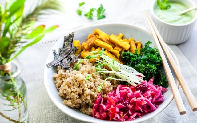 Macrobiotic Bowl: Indonesian Style Tempeh, Tamari Quinoa, Beet Sauerkraut, Lemony Kale and Avocado Cilantro Dressing