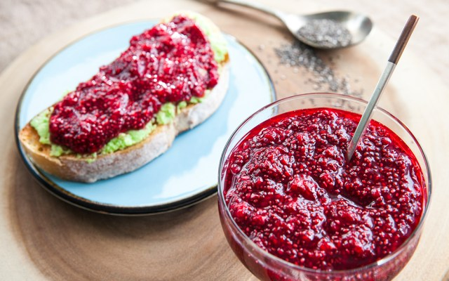 Low in Sugar Raspberry Chia Jam. Recipe and Video.