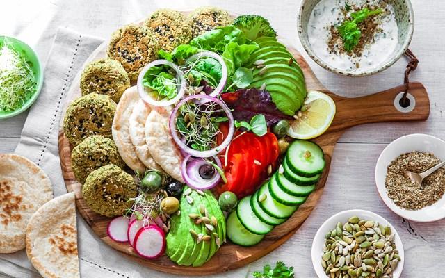 Baked Falafel Board with Coconut Yoghurt Sauce and Dukkah. Vegan Recipe.