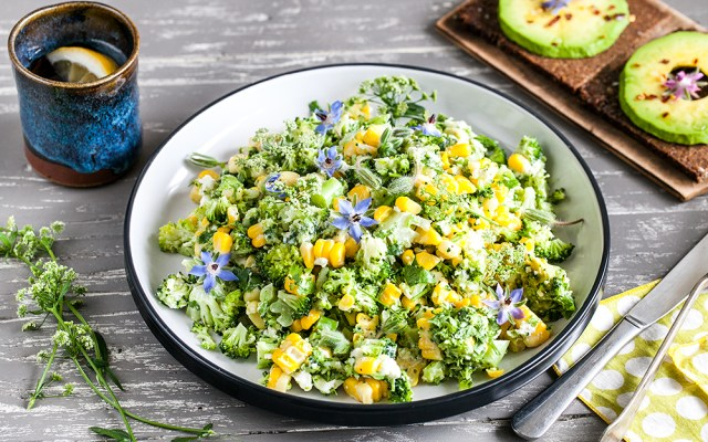 Summer Corn Salad with Feta and Creamy Garlic Dressing. Vegetarian recipe.