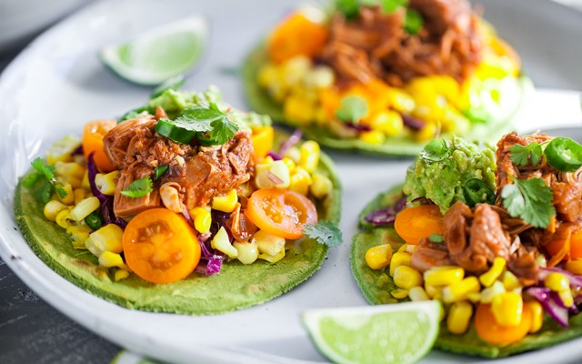 "Jackfruit ""Pulled Pork"" Taco with Corn Salsa Served on Homemade Corn Tortilla. Vegan, GF recipe"