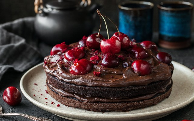 Spelt Flour Cherry Chocolate Cake with Avocado Frosting. Dairy-free recipe.