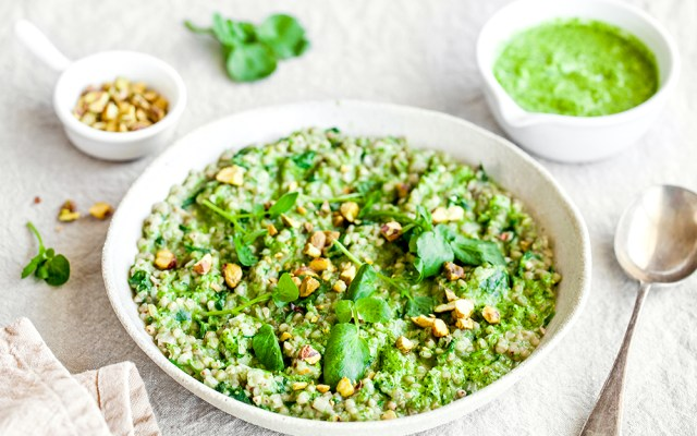 Buckwheat Risotto with Watercress Pesto and Pistachios. GF recipe.