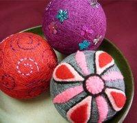 Японские вышитые шары Темари, как украшение к Новому году