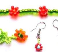 Схема плетения цепочки и сережек из бисера