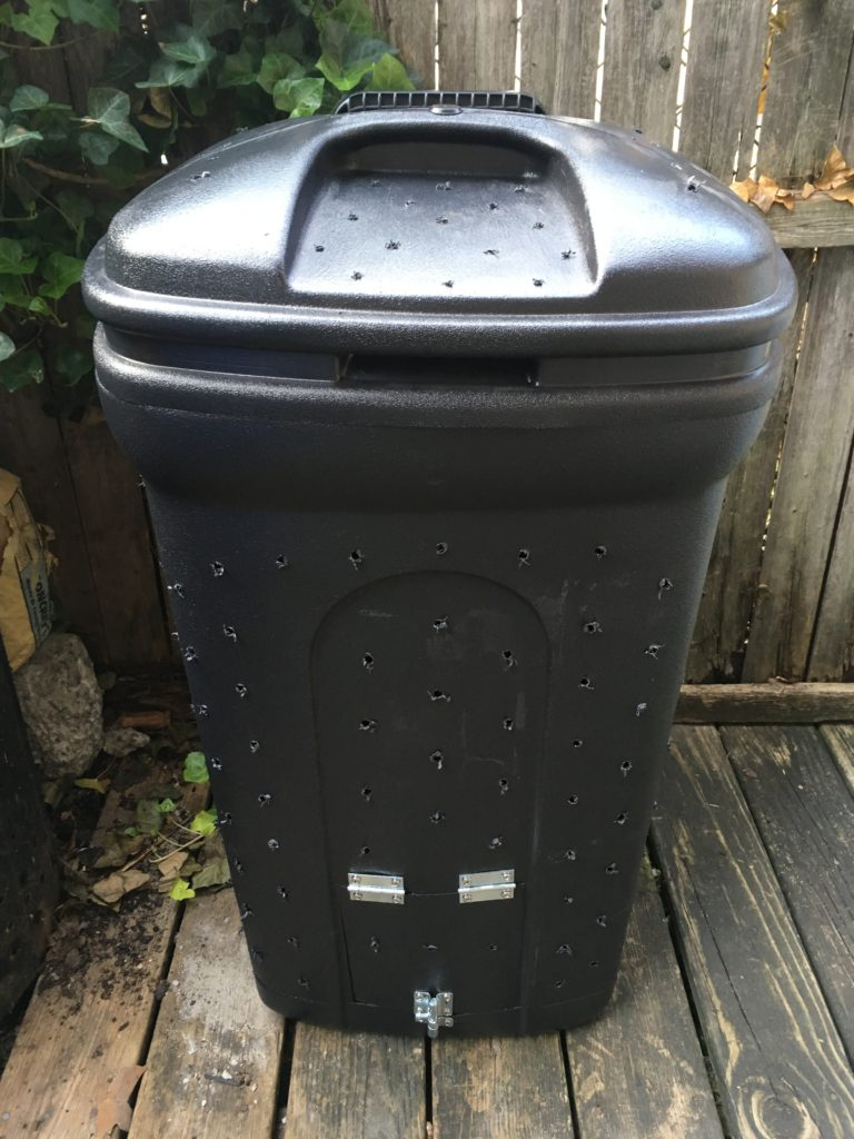 how to build a trash can composter with a door