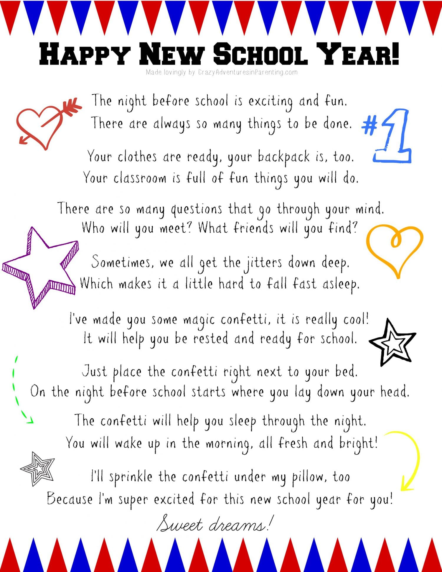 New School Year Celebration Printable For Nervous Jitters