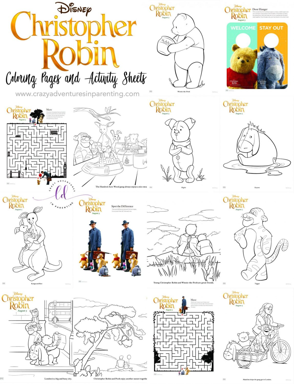 Christopher Robin Coloring Pages And Activity Sheets