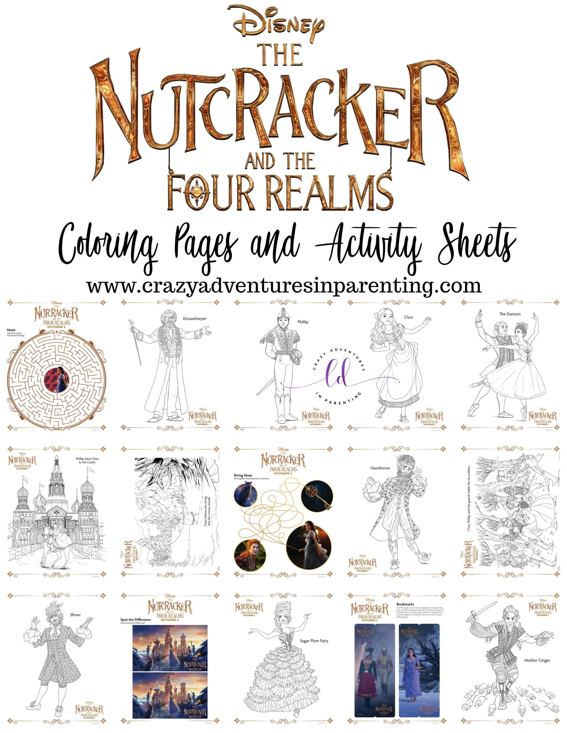 The Nutcracker And The Four Realms Coloring Pages And Activity Sheets Crazy Adventures In Parenting