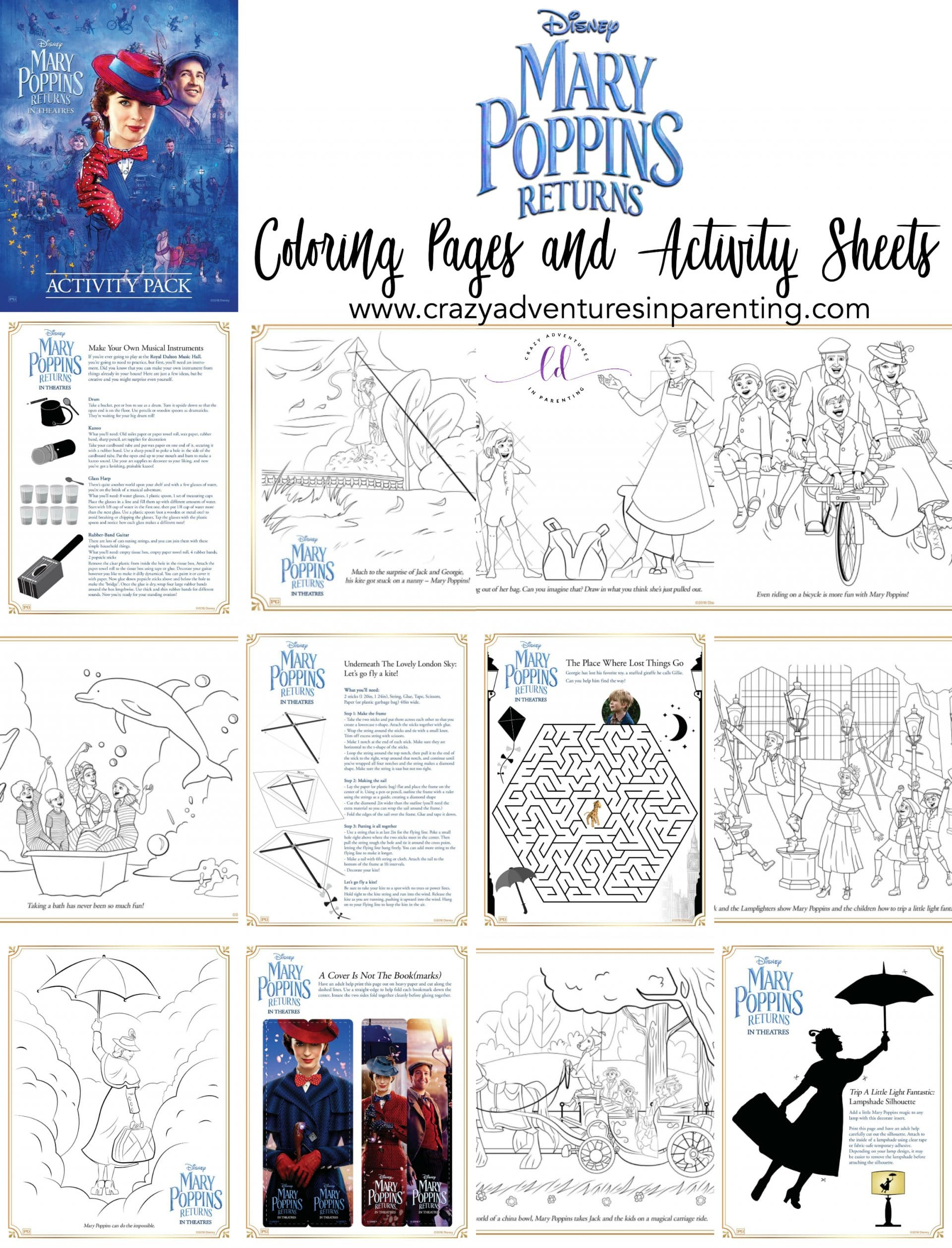 Mary Poppins Returns Coloring Pages And Activity Sheets