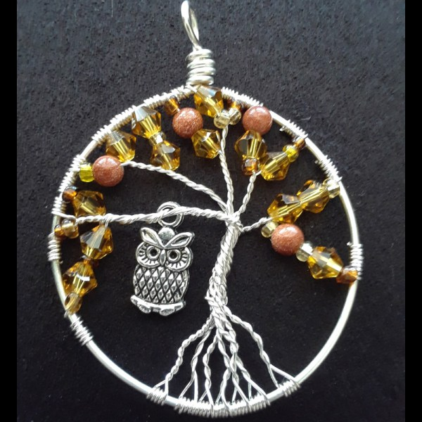 tree of life pendant with owl charm
