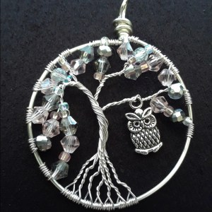 tree of life pendant in silver with owl