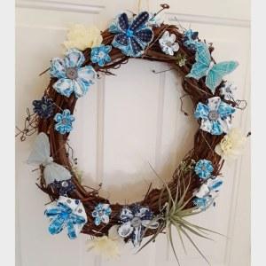 blue fabric flower wreath
