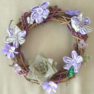 purple flower wreath