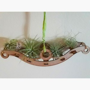 wooden, hanging air plant holder in the shape of a long bench