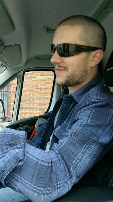 PJ in his van
